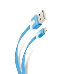 Cable plano USB a lightning de 1 m, para iphone 6, azul